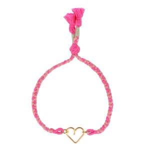 Bracelet Meera Cœur Gold Filled Cordon Rose, Collection Hindi