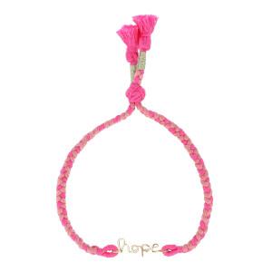 Bracelet Indira Hope Gold Filled Cordon Rose, Collection Hindi