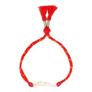 Bracelet Indira Je t'aime Gold Fille Cordon Orange Rouge, Collection Hindi