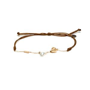Bracelet Cordon Perle Blanche Argent Doré