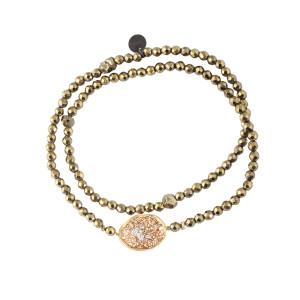 Bracelet Double Eclat Médaille M Argent Doré Hématite Kaki