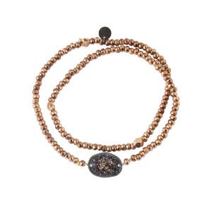 Bracelet Double Eclat Médaille M Argent Noir Hématite Rose