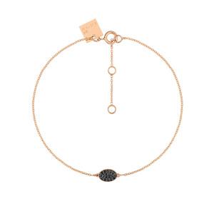Bracelet Sequin Or Rose Diamants Noirs