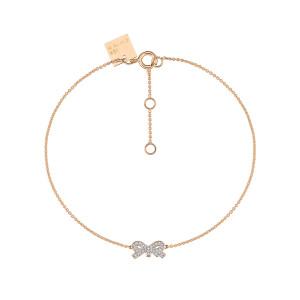 Bracelet Tiny Diams Nœud Or Rose Diamants