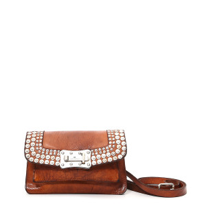 Sac Agnese XS Crossbody Mini Cuir Clous Cognac