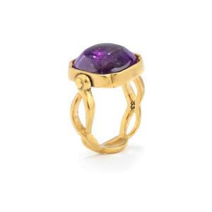 Bague Cabochons Carré Cristal de Roche Violet Améthyste