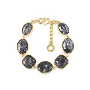 Bracelet Cabochons Cristal de Roche Bleu Tinted Rock