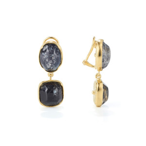 Boucles d'oreilles Cabochons Cristal de Roche Bleu Tinted Rock