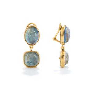 Boucles d'oreilles Cabochons Cristal de Roche Bleu Denim