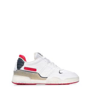 Baskets Emree Cuir Blanc Rouge Beige