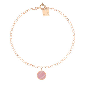 Bracelet de Cheville Ever Disc Rhodocrosite Or Rose