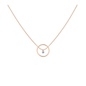 Collier Excentrique Diamant Brillant Or Rose