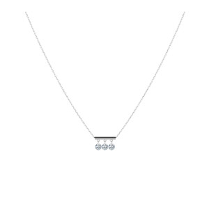 Collier Pampilles 3 Diamants Brillants Or Blanc