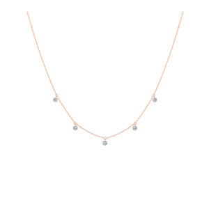 Collier 360° 5 Diamants Brillants Or Rose