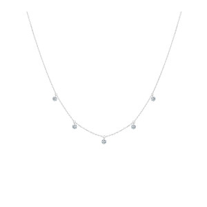 Collier 360° Or Blanc 5 Diamants Brillants
