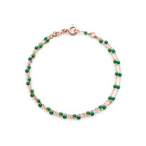 Bracelet Double Perles Résine Or