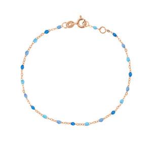 Bracelet Perles Résine Bleu Or Rose, Exclusivité Lulli