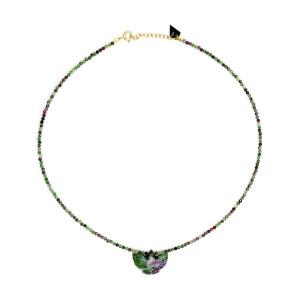 Collier Condor Perles Rubis Zoïsite
