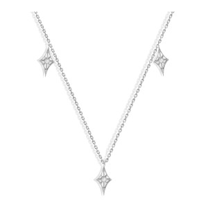 Collier Cheyenne Mini-Losange Diamants Or Blanc