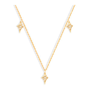 Collier Cheyenne Mini-Losange Diamants Or Jaune