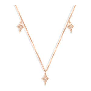 Collier Cheyenne Mini-Losange Diamants Or Rose
