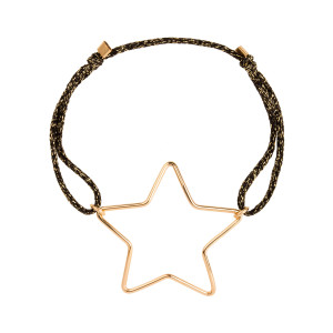 Bracelet Cordon Lurex Stardust Big Star Gold Filled 14K