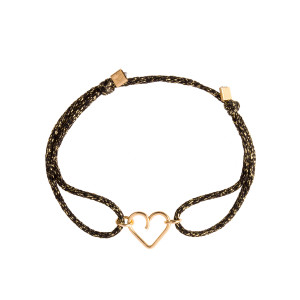 Bracelet Cordon Lurex Mini Cœur Gold Filled