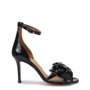 Sandales Isabelle Agneau Croco Verni Noir