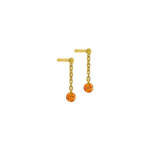 Boucles d'oreilles Confetti Saphir Orange Or Jaune