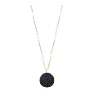 Collier Ever Jumbo Blue Sand Stone Disc Or Rose