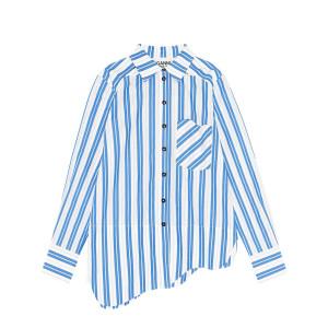 Chemise Coton Rayures Blanc Bleu