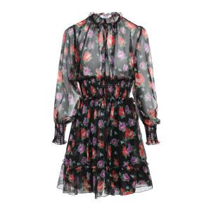 Robe Soie Imprimé Floral Noir
