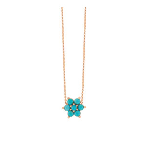 Collier Fallen Sky Or Rose Turquoise
