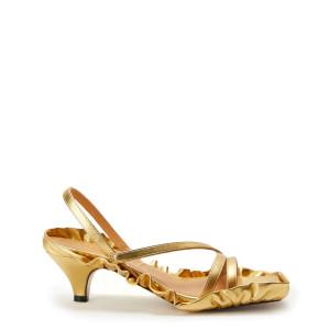 Sandales Cuir Métallisé Doré