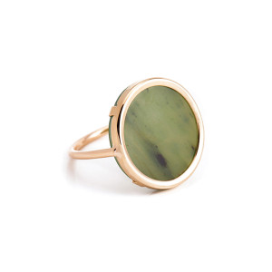 Bague Disc Or Rose Jade