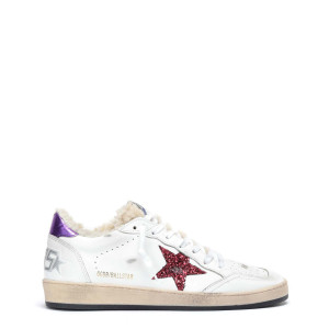 Baskets Ball Star Mouton Cuir Blanc Rouge