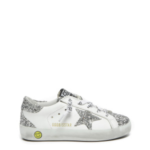 Baskets Enfant Superstar Cuir Glitter Blanc