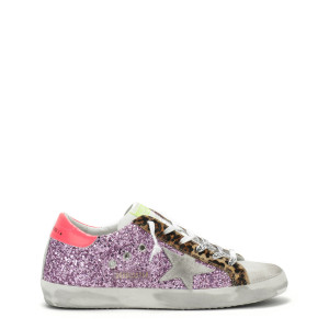 Baskets Superstar Glitter Violet Rose Léopard