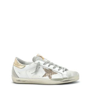 Baskets Superstar Cuir Blanc Glitter Doré