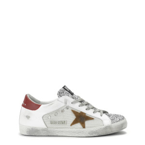 Baskets Superstar Cuir Suédé Glitter Tabac Rouge