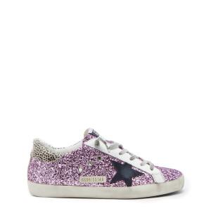 Baskets Superstar Cuir Glitter Violet Noir