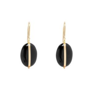 Boucles d'oreilles Stones Laiton Noir