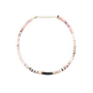 Collier Puka Onyx Opale Rose