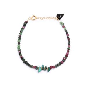 Bracelet Facettes Rubis zoisite Malachite