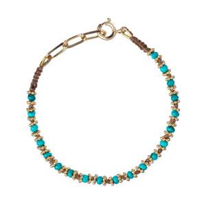 Bracelet Kamala Beige Turquoise Plaqué Or