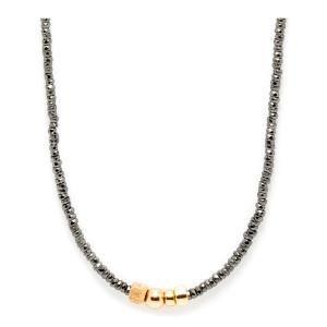 Collier Sublime 4 Perles Or Hématite Noir