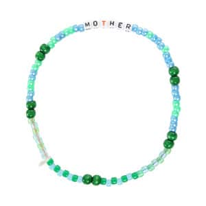 Collier Love Beads MOTHER Vert Bleu