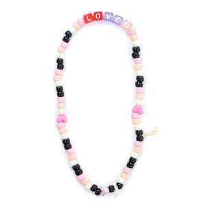 Bijou de Téléphone Love Beads LOVED Rose Noir