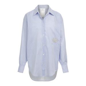 Chemise Coton Bleu avec Pierres de Protection