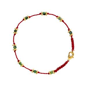 Bracelet Lotus Rouge Rubis-Zoïsite Plaqué Or